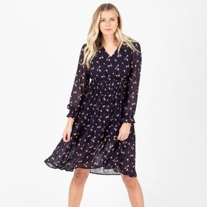 Floral Navy Blue and Pink Midi Dress